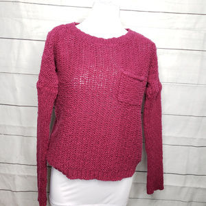 Roxy chunky cable knit sweater cranberry red Small